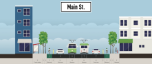 This idea removes on-street parking (it's rarely used anyway) and adds bike lanes to Main St through Midtown.