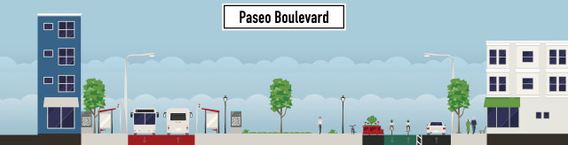 Imagine Paseo Boulevard redesigned for pedestrians, bicycles, and BRT for a fraction of the cost to build #kcstreetcar.