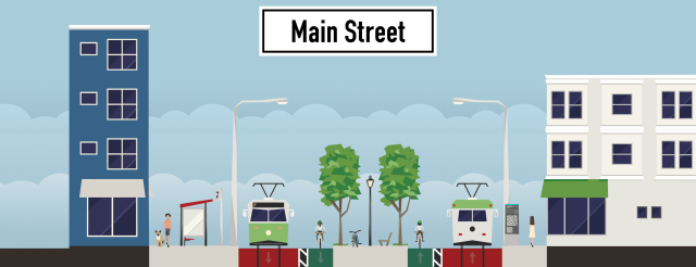 Dedicated rail lanes for more ROI. This concept would have worked better if streetcar ran along Walnut instead of Main.
