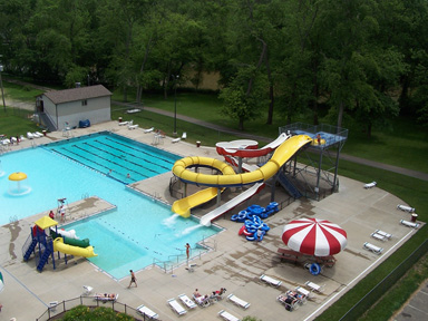 This is a photo of the small municipal water park in Coshocton, Ohio, population 11,000. It's a hub of community activity.