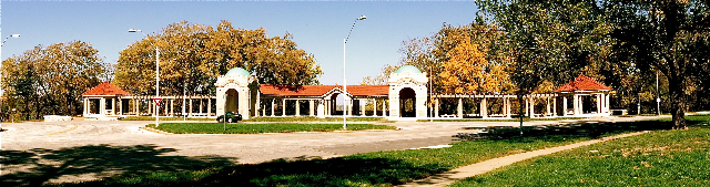 The Colonnade at Concourse Park, in Scarritt Renaissance Historic District, is one of the city's most beautiful landmarks.