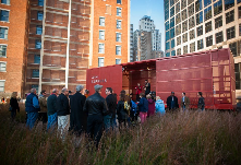 Prairie Logic. It's a sculpture, a stage, a boxcar, a prairie. it's public art on a rooftop in downtown Kansas City.