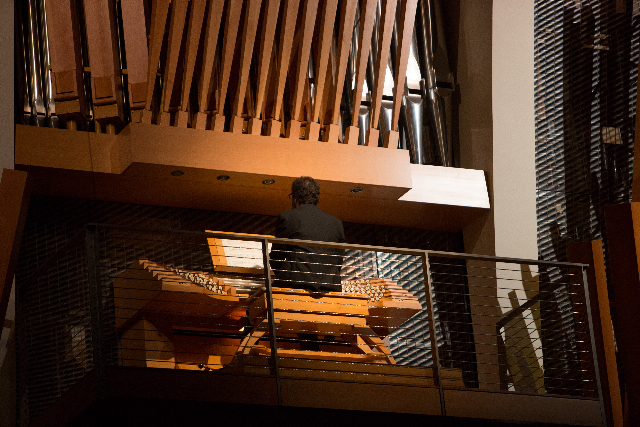 UMKC Conservatory student Tate Addis performs Messiaen on the Casavant organ in Helzberg Hall during Crescendo 2012.