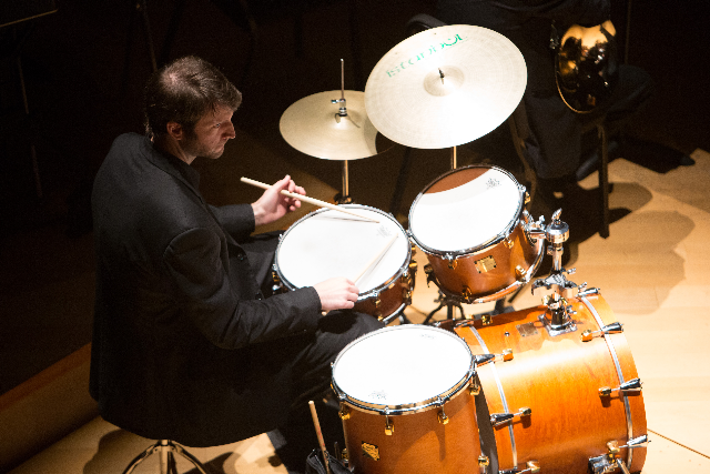 UMKC Conservatory jazz student Tim Cambron performs at Crescendo 2012 on Helzberg Hall stage. photo: James Allison
