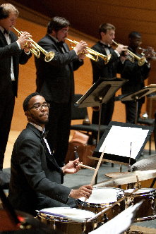 UMKC Concert Jazz Band, led by Bobby Watson, performs on Helzberg Hall stage, 2011.<br/>photo: James Allison