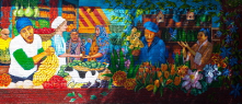 This is a mural in the Historic Northeast. I love the colors and it fits perfectly in our culturally diverse neighborhood.