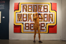 America Now and Here... painting by Scott Gobber... bodysuit by Peggy Noland... Leedy Volkus Art Center