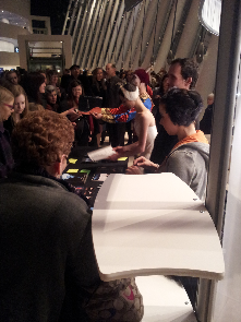 The dancers from the Russian National Ballet Theatre sign autographs following their Harriman-Jewell Series performance.