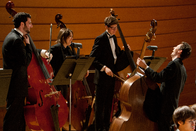 UMKC Conservatory double bass students rock Helzberg Hall during a rehearsal.