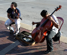 These two young student artists were playing their music on the Plaza one weekend and I was thrilled to see and hear them. They inspired.