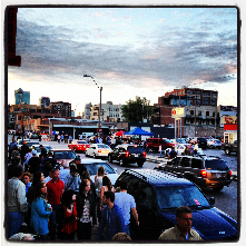 June 2012, First Friday crowd at 20th and Baltimore Ave.