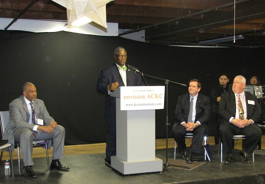 Mayor Sly James speaking at the Festival of Ideas kick-off at Arts Tech with Tracey Lewis, Mike Burke, and Dave Sullivan.