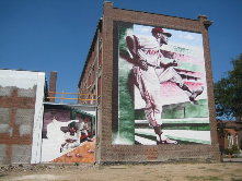 "Alexander Austin's mural of Buck ONeil at 18th and Paseo, Underwritten by Mr. Ollie Gates Public Art+Historic Place-making+Private<wbr/><span class=""wbr""></span> support!"