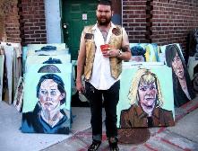 David Gant, recreator, cat lover, oil painter... Jessica Logsdon, left+Carol Haenish, right as portrait subjects... Major show, typical KC!
