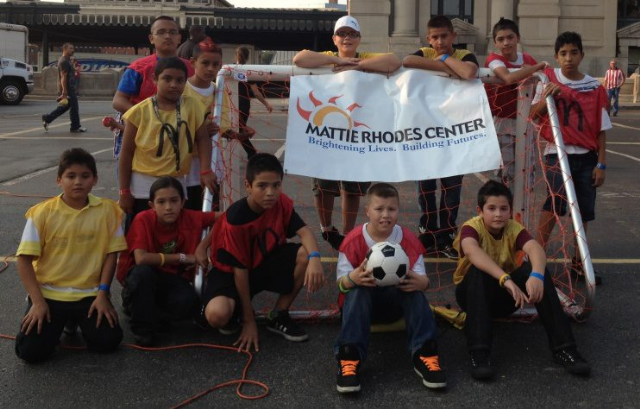 Mattie Rhodes Center soccer team representing at Expo Americas at Union Station.
