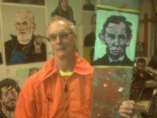 Glass Etcher Drummond, with a Lincoln portrait by our vivid son of Missouri, David Gant...He makes collecting art a contact sport!<br/>