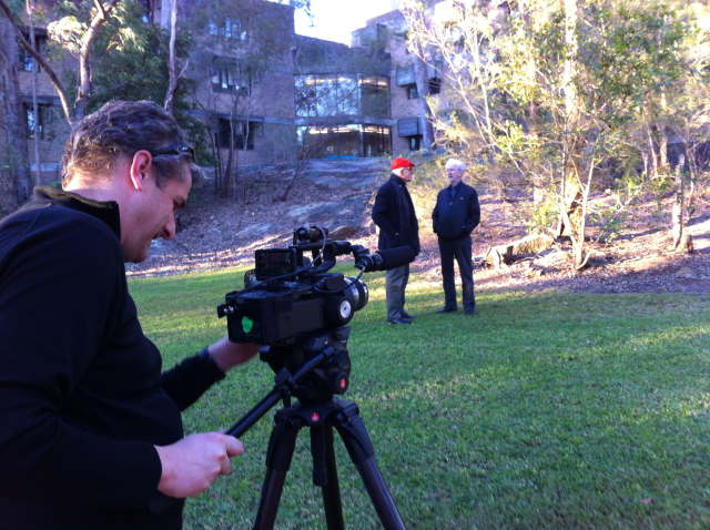Recording David Turner and Bruce MacKenzie (original architect and landscape architect) on site last week.