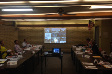 The Alhambra Village Planning Committee discussing the PlanPHX project at their February meeting.