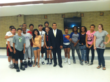 Councilman Valenzuela at the Washington Activity Center with a group of teen participants on October 18, 2012.