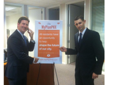 Mayor Stanton with Benjamin Stern after recording Benjamin's voice mail greeting.
