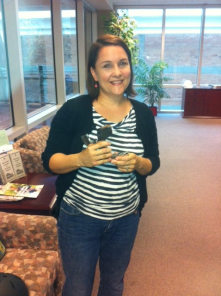Ms. Lisa Parks collecting one of our most popular prizes from the rewards store (section of Light Rail track).