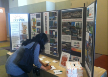 Resident signing up for a MyPlanPHX account and telling us what her big idea is for Phx (display currently located in atrium of City Hall)
