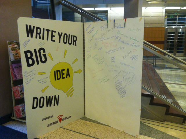 Big Idea Book on display in the lobby of City Hall