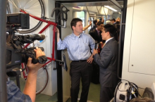 Mayor Stanton discussing PlanPHX on a Light Rail.