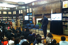 Dr. Witherspoon speaks with students at Phillips Academy at the launch of the Birmingham Civil Rights Project