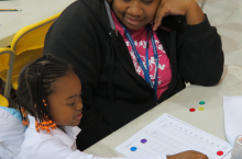 Community Math Night: A parent and student at Glen Iris Elementary