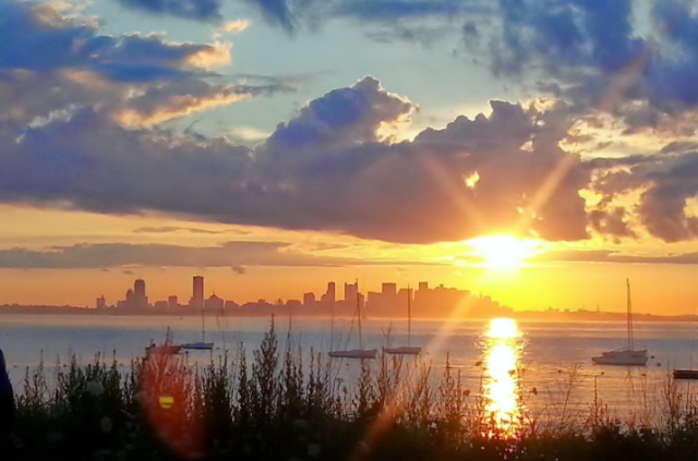 Boston skyline, Camp Harbor View, Long Island 7-24-14.  Shows the magnitude of nature and the elements which surround us