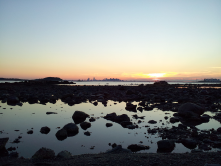 Boston and Deer Island from Lovells Island in the Boston Harbor