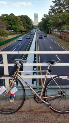Biking the overpass on Storrow Drive.
