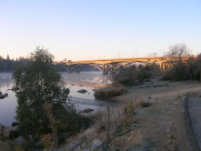 Morning fog at the Lake Natoma Crossing in winter.