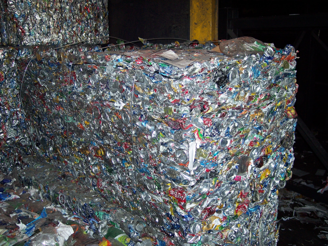48,000 aluminum cans ready for recycling...