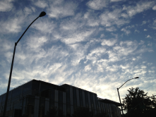 Great clouds above the Health Care Services building