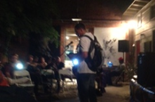 Poet Malik Saunders at a reading at the Brickhouse Gallery, 36th & Broadway.