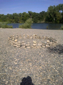 Rock sculpture down by the river