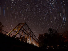 Star Trail over Spores Bridge, Eugene, OR~ Erin Wood