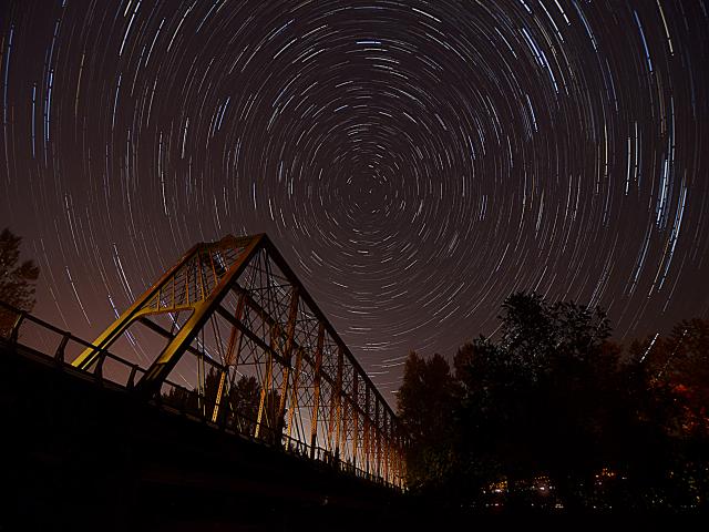 Star Trail over Spores Bridge, Eugene, OR~ Erin Wood
