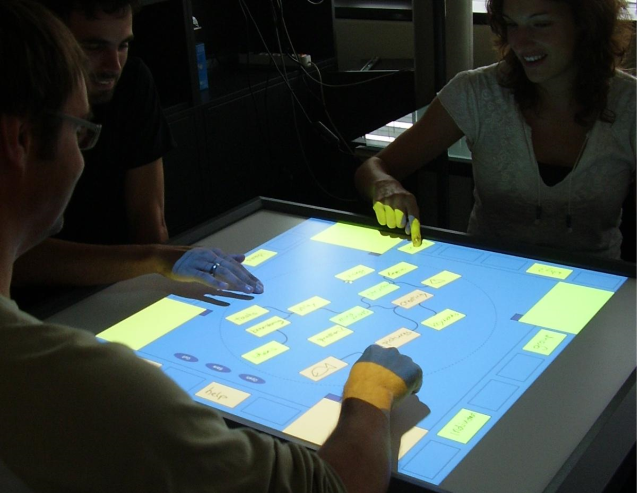 This touch table supports collaborative mind mapping. It is a great tool for collaborative decision making processes.