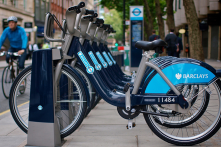 London 'Boris bike' rentals with docking station.  Barclays bank investment.