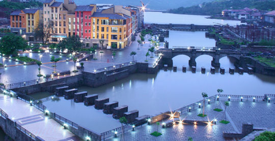 Lavasa - the first city in India using Bio mimicry technology - landscaping for fresh and holistic architectural approach.