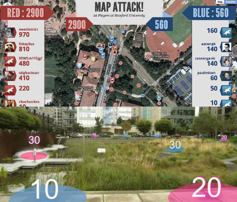 Urban Games ! http://weburbanist.com/2012/03/27/mapattack-app-turns-any-city-into-a-virtual-gameboard/
