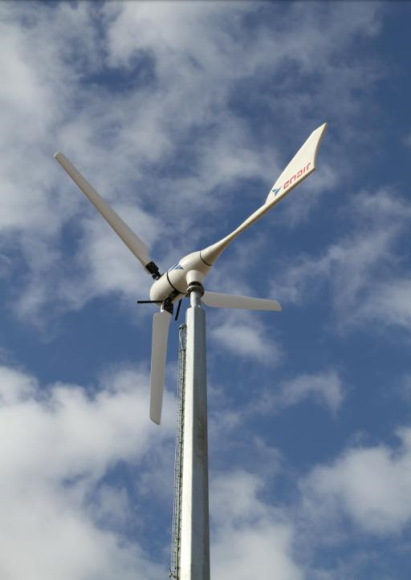 This is a wind turbine set up at UCAM Catholic University of Murcia (Spain) in the efficiency installation building.