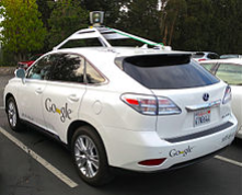 This is a prototype of Google self-driving car, which gets data of what happens around it in order to safe drive the passengers.