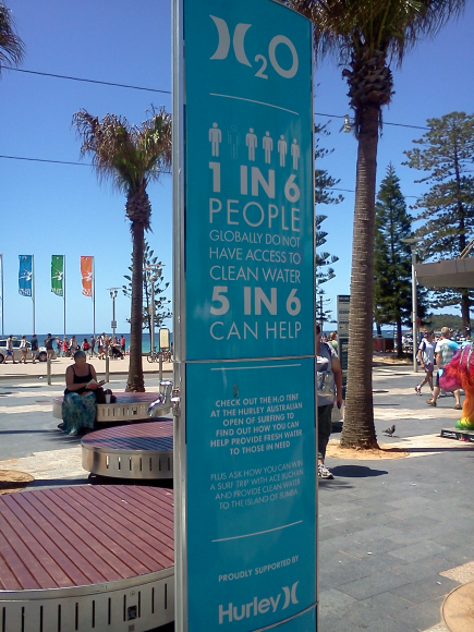 Manly Beach, Sydney. Low-tech potable water station with tap for people to refill water bottles to avoid plastic bottle waste.