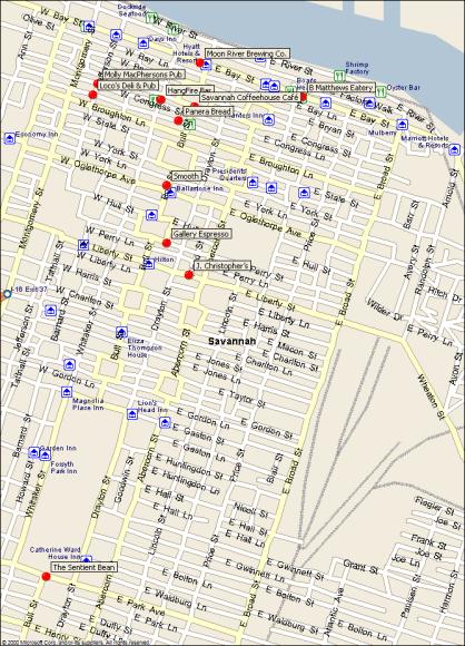 Wifi location sin Savannah, GA.