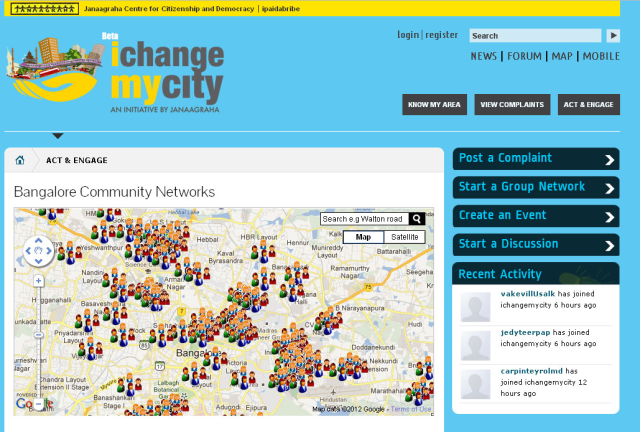 I Change My City: an online platform where citizens can file complaints and see them  fixed in Bangalore, India