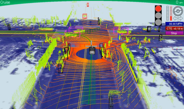 Self-Driving Car,  here´s what it  sees making a left turn